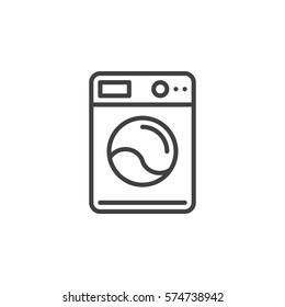 Washing machine line icon, outline vector sign, linear pictogram isolated on white. Laundry symbol, logo illustration