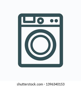 Washing machine linear icon, laundry machine outline vector icon