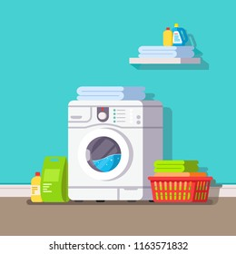 Washing machine and near her things and laundry powder. Modern flat style thin line vector illustration isolated on blue background.