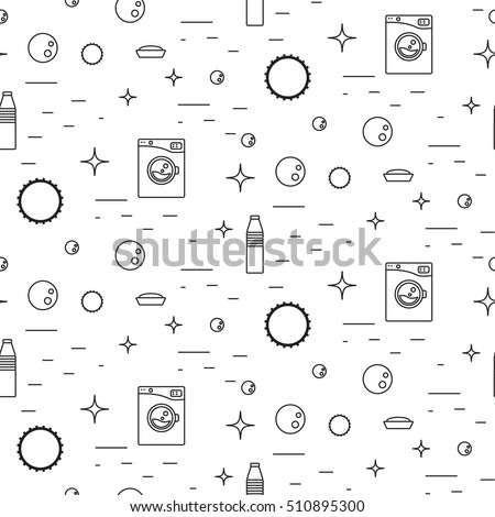 Washing Machine Soap Bubbles Thin Line Stock Vector Royalty Free