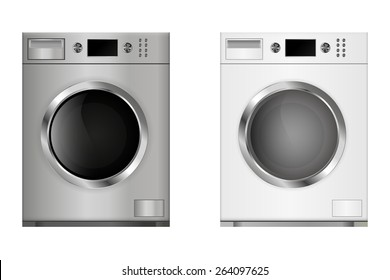 Washing machine. Vector Illustration isolated on white background.