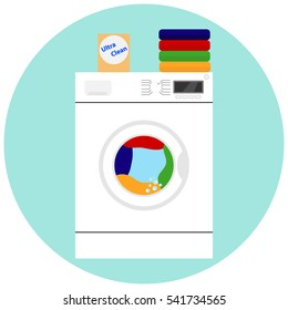 Washing machine, to wash clothes, washing machine icon, towels, laundry, furnished, clean, stain on clothing. Flat design, vector.