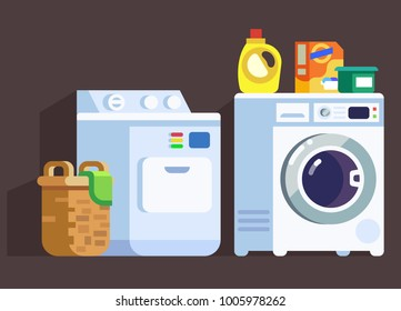 Washing Machines and Cleaners with Laundry Basket Flat Styled Device Set
