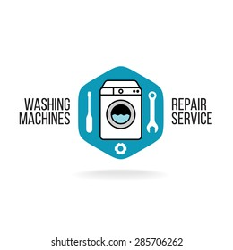 Washing machines repair service logo. Wrench, gear and screwdriver silhouettes in a rounded hex shape.