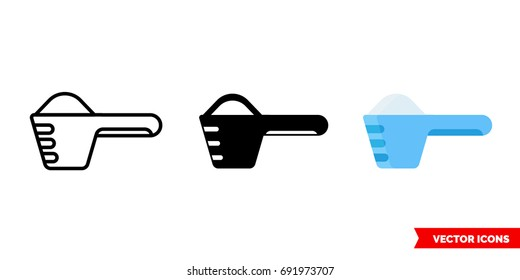 Washing powder icon of 3 types: color, black and white, outline. Isolated vector sign symbol.