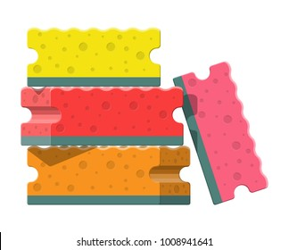 Washing sponge. Kitchenware scouring pads. Kitchen and bath cleaning tool accestories. Vector illustration in flat style