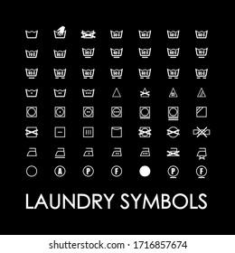 Washing symbols for clothes. Washing machine symbols for washing clothes. Washing instructions. Black background.