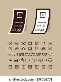 Washing symbols set on clothing labels.vector.