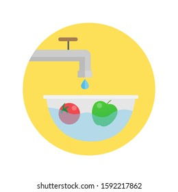 washing vegetables fruit.clean food icon.vector illustration