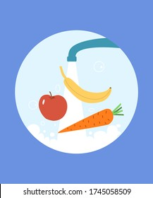 Washing vegetables and fruits at kitchen. Prevention of infection and coronavirus. Clean diet food. Hygiene and sanitary concept. Ingridients for cooking at home. Banana, apple and carrot vector.