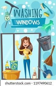 Washing windows poster with housewife, household chore and housekeeping. Housewife with cloth and cleaner sprayer washes or polishes glass. Broom and bucket, scoop and brushes, gloves and basin vector