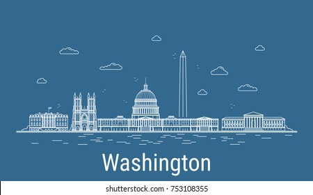 Washington city, Line Art Vector illustration with all famous buildings. Linear Banner with Showplace. Composition of Modern cityscape. Washington buildings set
