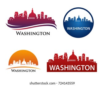Washington City Skyline Landscape Logo Template