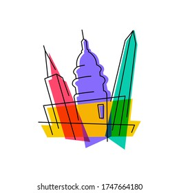 washington cityscape abstract vector illustration colorful