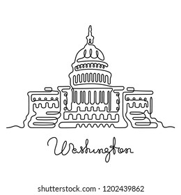 Washington continuous line drawing. Capitol building