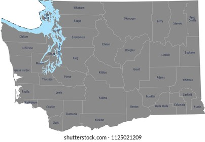 Washington counties map vector outline with counties names labeled in gray background