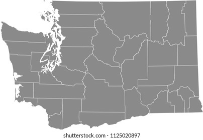 Washington county map vector outline gray background. Washington state of USA map with counties borders
