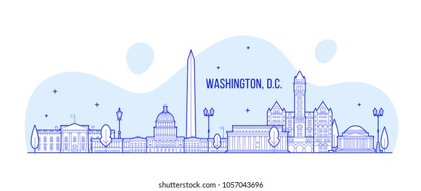 Washington, D. C. skyline, USA. This illustration represents the city with its most notable buildings. Vector is fully editable, every object is holistic and movable