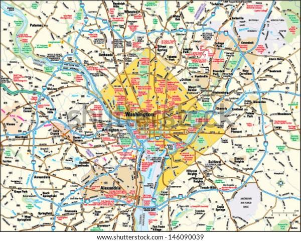 Washington Dc Area Map Stock Vector (Royalty Free) 146090039 on