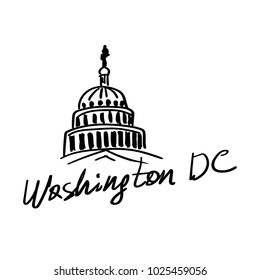 Washington DC beautiful sketched icon famous hand-drawn landmark city name lettering vector illustration. US Capitol. World famous cities logos collection