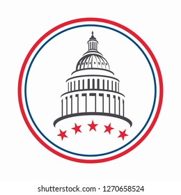 Washington DC Capital Building Vector Emblem