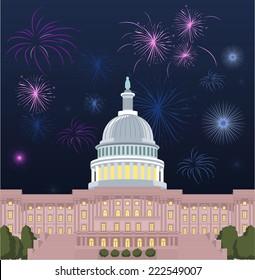 Washington DC Capitol building with open firework set vector illustration.