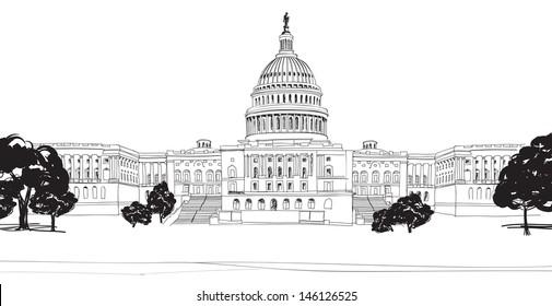 Washington DC Capitol with garden landscape, USA. Hand Drawn Pencil Vector Illustration.