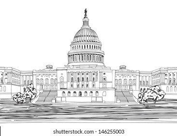 Washington DC Capitol landscape, USA. Hand Drawn Pencil Vector Illustration.