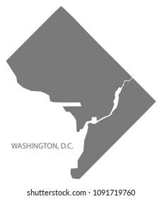 Washington DC city map grey illustration silhouette shape