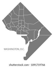 Washington DC city map with neighborhoods grey illustration silhouette shape