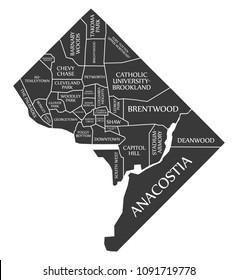 Washington DC city map USA labelled black illustration