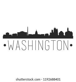 Washington DC Columbia Skyline Silhouette City Design Vector Famous Monuments