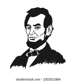 Washington DC., February 18, 2019: Abraham Abe Lincoln. the 16th president of the United States. Hand Drawn Potrait Vector.