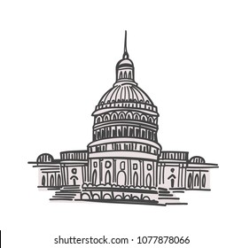 Washington DC landmarks hand drawn vector illustration, capitol building surrounded by blooming cherry trees. Sketch style, minimalistic palette.