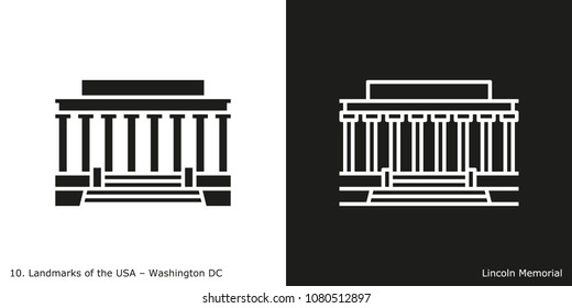 Washington DC - Lincoln Memorial. Famous American landmark icon in line and glyph style.
