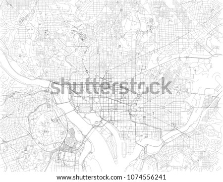 Washington DC Map Capital United States Stock Vector (Royalty Free ...