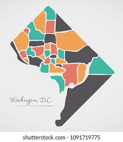Washington DC Map with neighborhoods and modern round shapes