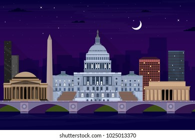 Washington DC night view of city skyline illustration