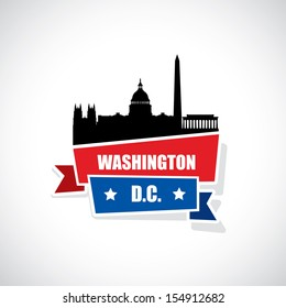 Washington DC ribbon banner - vector illustration