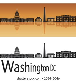 Washington DC skyline in orange background in editable vector file
