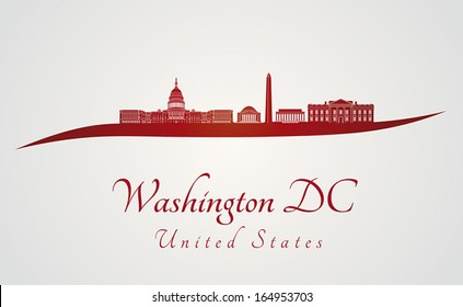 Washington DC skyline in red and gray background in editable vector file