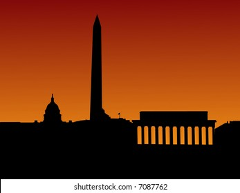 Washington DC skyline with separate layers for Capitol building and Washington and Lincoln Monument