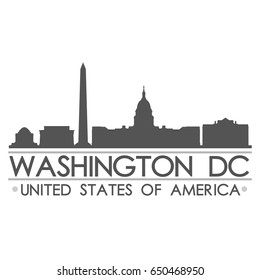 Washington DC Skyline Silhouette Design City Vector Art