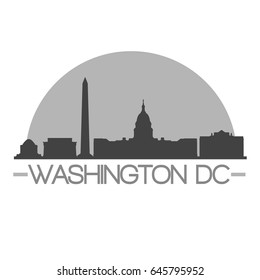 Washington DC Skyline Silhouette Skyline Stamp Vector City Design
