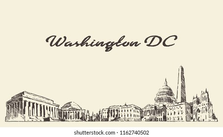 Washington DC skyline, USA, hand drawn vector illustration, sketch