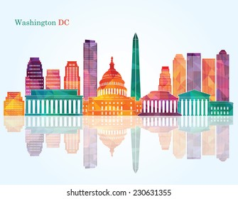 Washington Dc skyline. Vector illustration