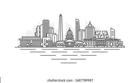 Washington, D.C., United States of America (USA) architecture line skyline illustration. Linear vector cityscape with famous landmarks, city sights, design icons. Landscape with editable strokes.