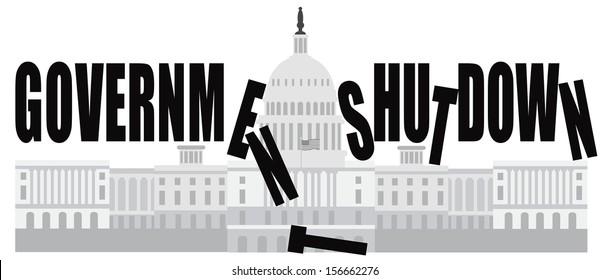 Washington DC US Capitol Building Government Shutdown Vector Illustration