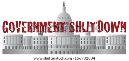Washington DC US Capitol Building Government Shutdown Red Text Outline Vector Illustration
