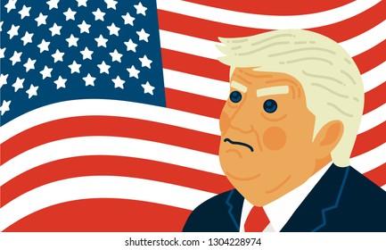WASHINGTON DC, US - FEBRUARY 2019:  President Donald Trump vector illustration caricature portrait. - Vector